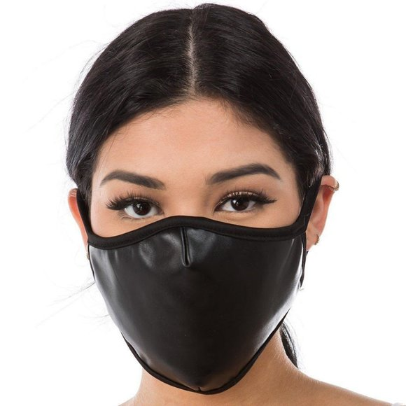 NEW Black Leather Leatherette Face Mask Women Men